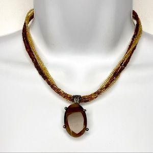 Premier Designs Seed Bead Pendant Boho Necklace